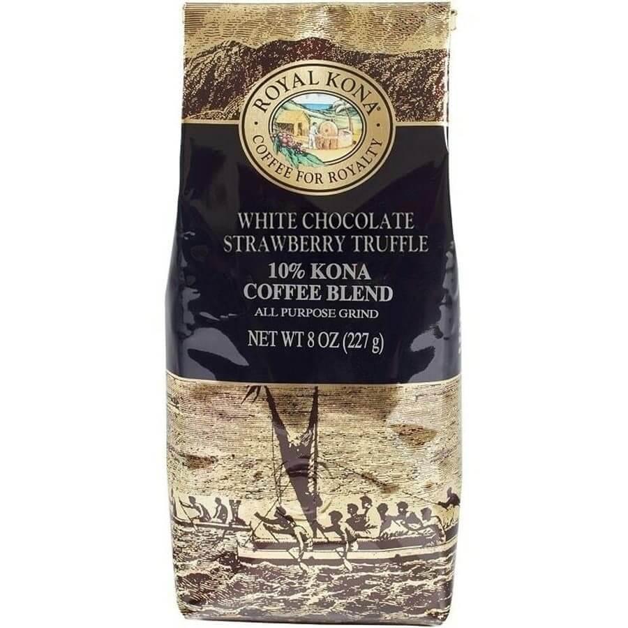 (ロイヤルコナコーヒー) ホワイトチョコレート・ストロベリートリュフ・10%コナコーヒーブレンド 227g